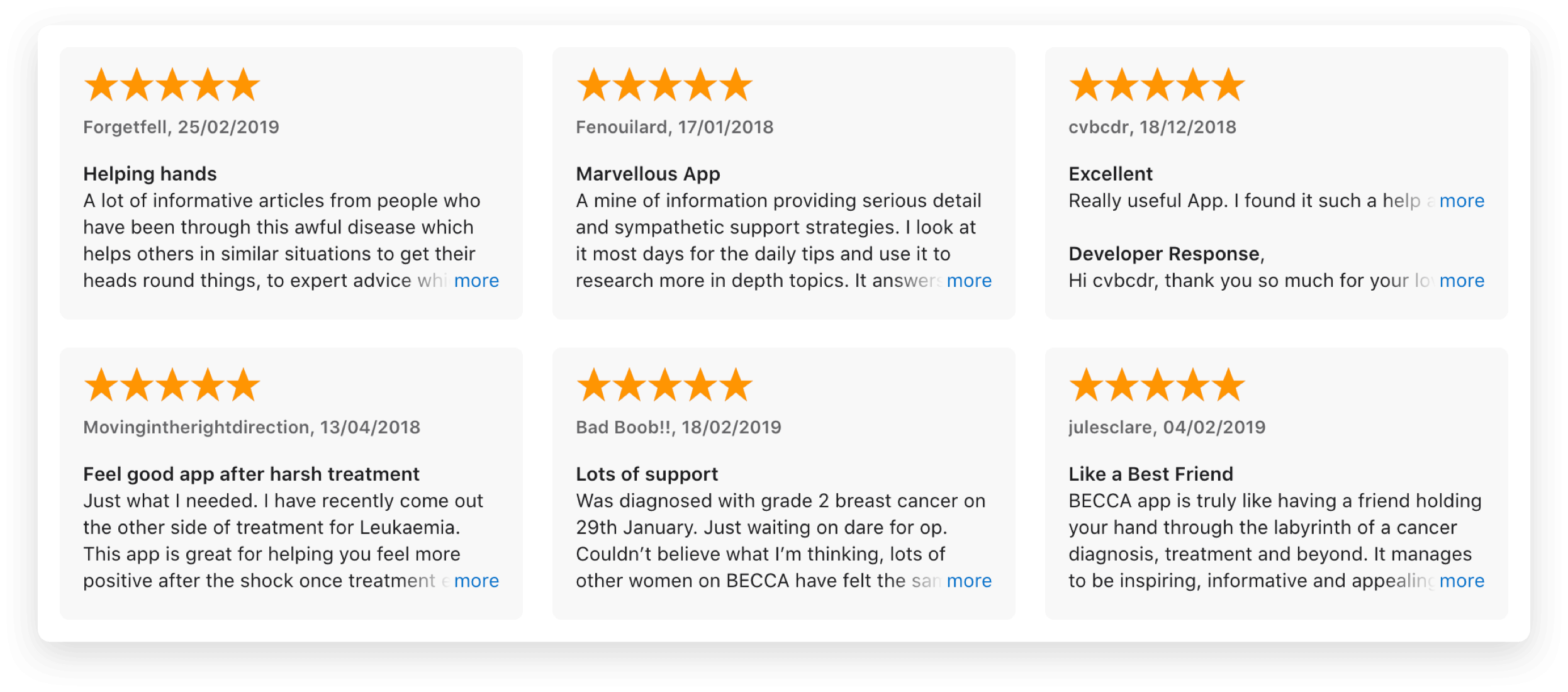 Image showing screenshots of the 5 star rewviews of BECCA