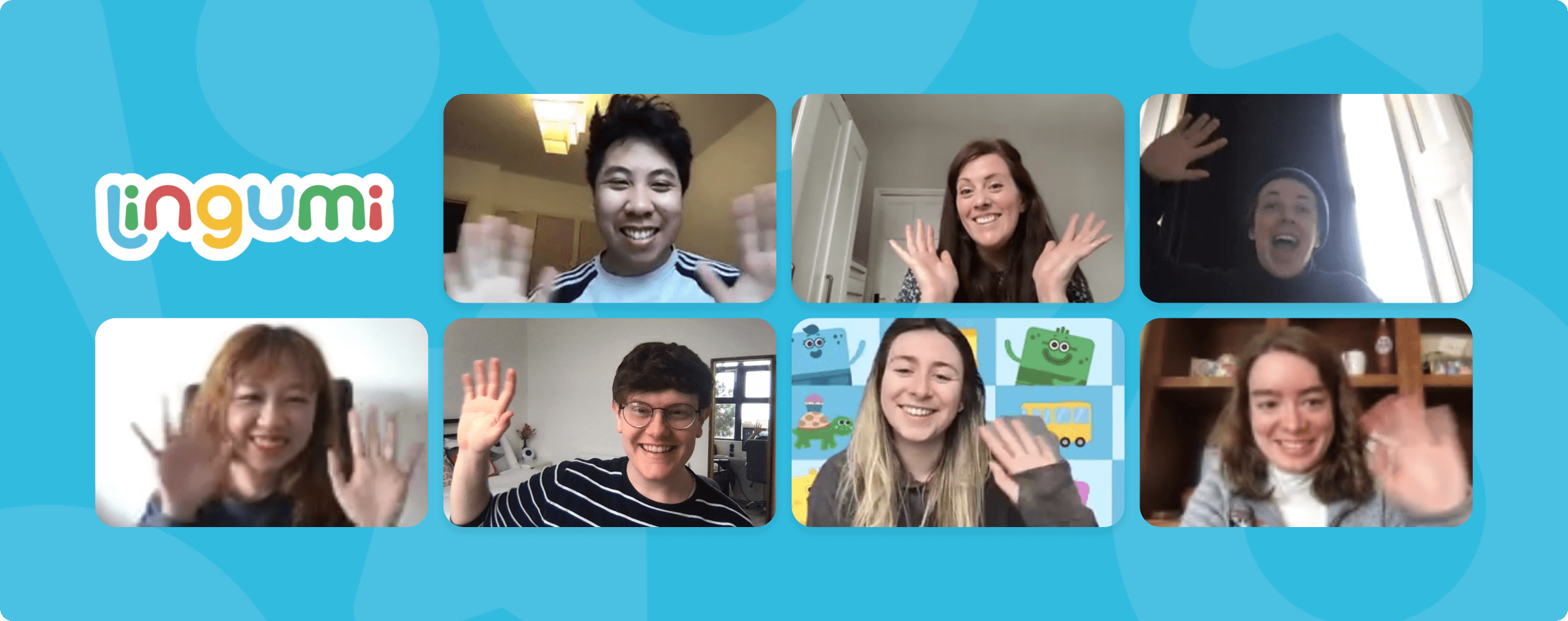 Image showing the seven members of the Lingumi Design Team waving at the camera